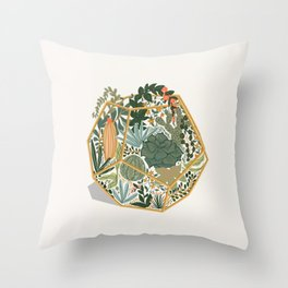 Mini Terrarium Throw Pillow
