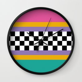 Checkered pattern grid / Vintage 80s / Retro 90s Wall Clock
