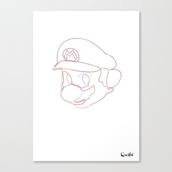 One line Supermario Canvas Print