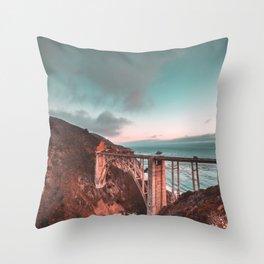 Bixby Bridge Sunset Throw Pillow