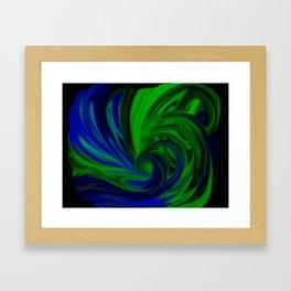 Blue and Green Wave Framed Art Print