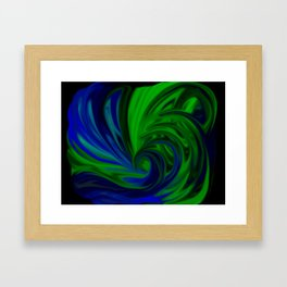 Blue and Green Wave Framed Art Print