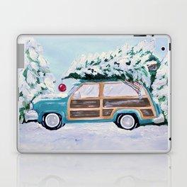 Blue vintage Christmas woody car with pine tree Laptop & iPad Skin