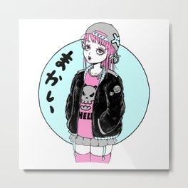 Elf Anime girl with a cap Metal Print