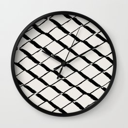 Modern Diamond Lattice Black on Light Gray Wall Clock