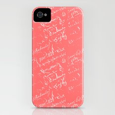 French Script on Coral iPhone (4, 4s) Slim Case