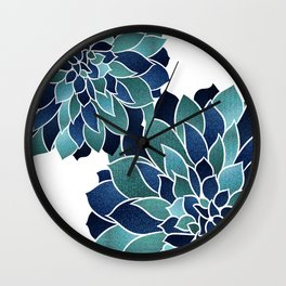 Floral Prints, Navy Blue and Teal on White Wall Clock
