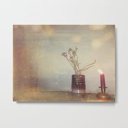 Candle & Flower Metal Print