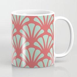 Coral and Mint Green Deco Fan Coffee Mug