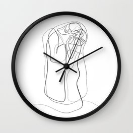 The Kiss by Gustav Klimt - minimal one line drawing Wall Clock