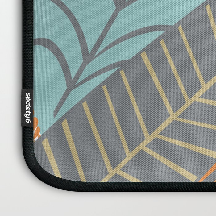 Bright Tropical Leaf Retro Mid Century Modern Laptop Sleeve
