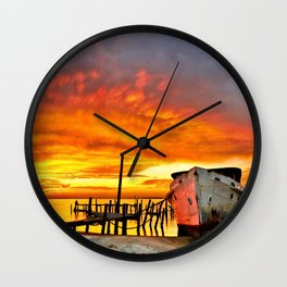 Old Boat Yellow Red Sunrise Fine Art Giclee Prints Wall Clock