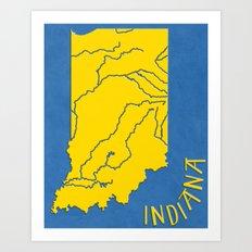 Indiana State Map Art Print