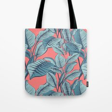 Pink Exotic Tropical Banana Palm Leaf Print Tote Bag