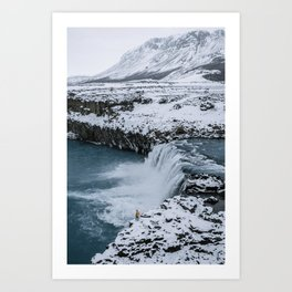 Waterfall in Icelandic highlands during winter with mountain - Landscape Photography Art Print