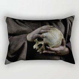 Holding a male skull Rectangular Pillow