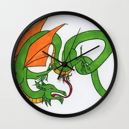 ER Celt dragon - Green & Orange Wall Clock