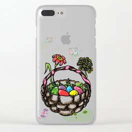 Easter eggs and busket in Minimalistic style Clear iPhone Case