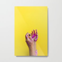 Yellow Paint Hands (Color) Metal Print