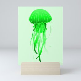 Green Jellyfish Ocean Pretty Sea Life Marine Design Mini Art Print