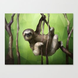Sloth (Low Poly Lime) Canvas Print