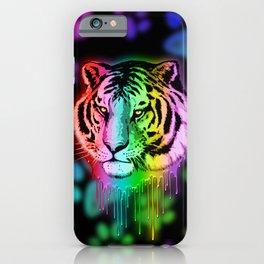 Tiger Neon Dripping Rainbow Colors iPhone Case