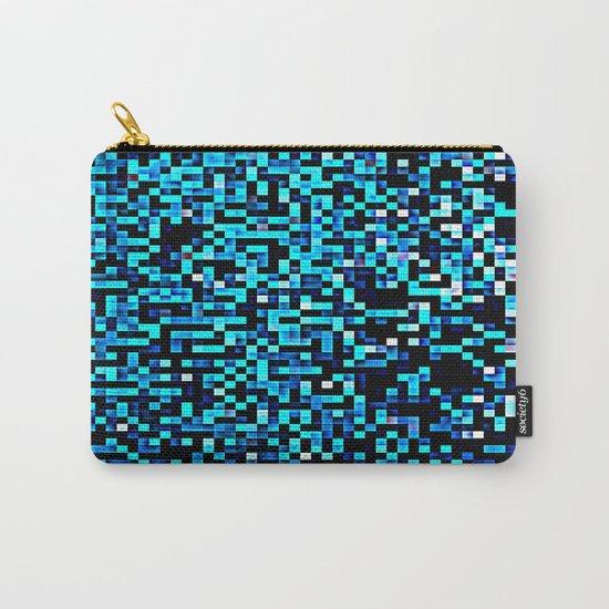 Turquoise Blue Aqua Black Pixels Carry-All Pouch