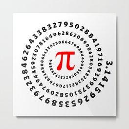 Pi, π, spiral science mathematics math irrational number Metal Print