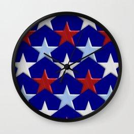 Patriotic Stars Wall Clock