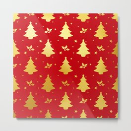RED GOLD CHRISTMAS PATTERN 256 Metal Print