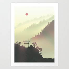 Red sunset in the Japan mountains Art Print