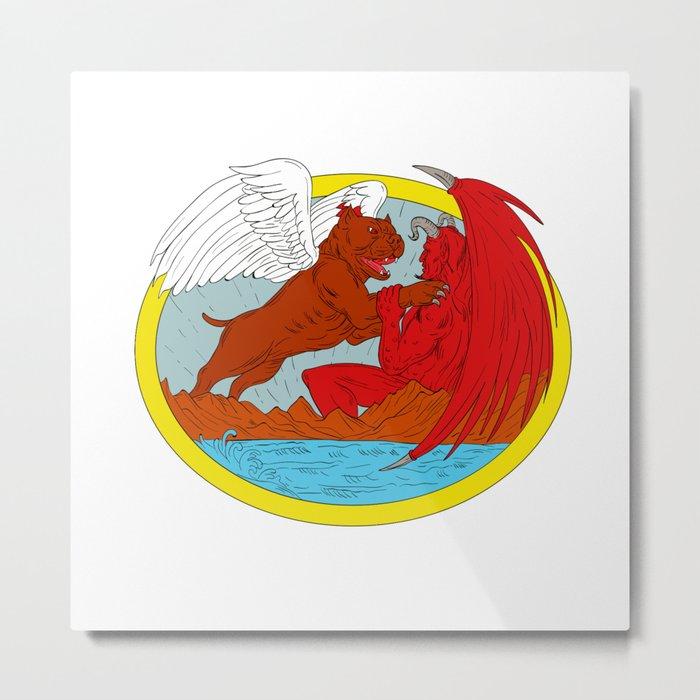 American Bully Dog Fighting Satan Drawing Metal Print