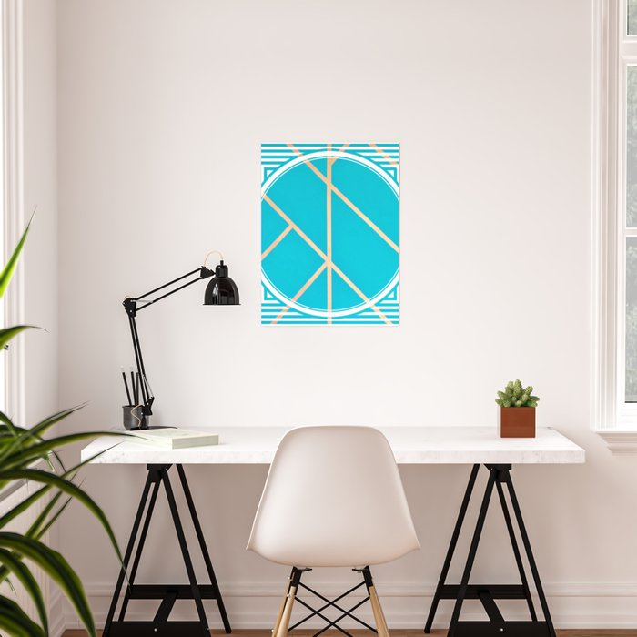 Leaf - circle/line graphic Poster
