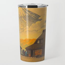 Vintage Japanese Woodblock Print Sepia Japanese Farm Mount Fuji Farmer Travel Mug