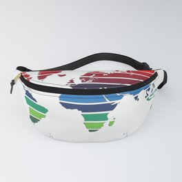 World Map - Colorful stripes - Pink to Maroon Fanny Pack