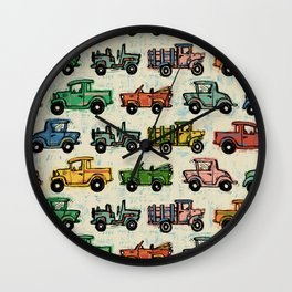 Old Timey Cars Wall Clock