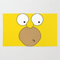 simpson Area & Throw Rugs featuring Surprised Homer Simpson by julien tremeau