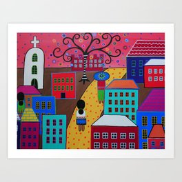 Mexican Tree of Life Town Painting by prisarts Art Print