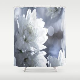 White flower with bokeh on a grey background included wonderful light Shower Curtain