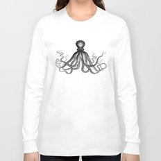 Octopus   Black and White Long Sleeve T-shirt