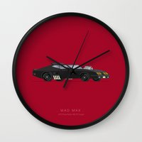 mad max Wall Clocks featuring Mad Max | Famous Cars by Fred Birchal