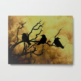 Crows on Branch Against Stormy Sky Art A522 Metal Print