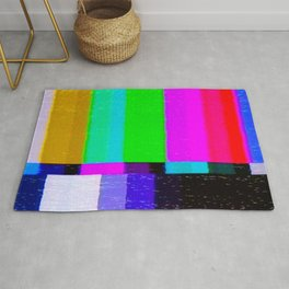 A distorted tv transmission or VHS tape, a badly eaten noisy signal of SMPTE color bars (a television screen test pattern). Vintage photo. Retro background. Rug