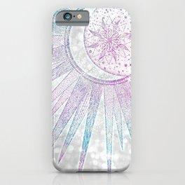 Elegant Iridescent Sun Moon Mandala Silver Design iPhone Case