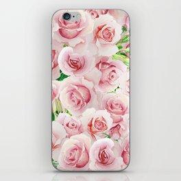 pink flowers roses watercolor wedding illustration iPhone Skin