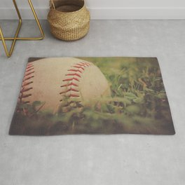 Used Baseball in Grassy Field wth Aged Effect Rug