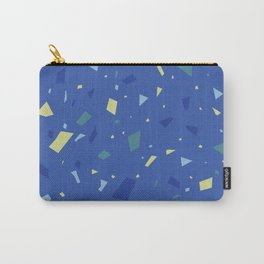 True Blue Terrazzo - Yellow and Navy Speckles Granite Marble Pattern Carry-All Pouch