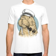 WALRUS White Mens Fitted Tee LARGE