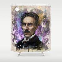 tesla Shower Curtains featuring Nikola Tesla  by Philipe Kling