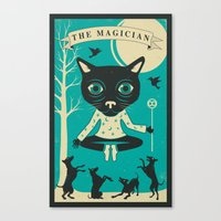 tarot Canvas Prints featuring TAROT CARD CAT: THE MAGICIAN by Jazzberry Blue